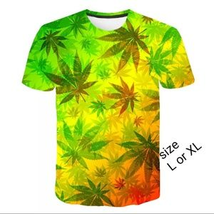 Other - Male 3D Print Floral T-shirt L and XL